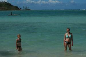 Jentene bada i det Sør-Indiske hav